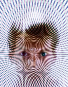 1970s special effect psychedelic pattern over portrait blonde man fan out from eyes stare weird 3 dimensional hologram